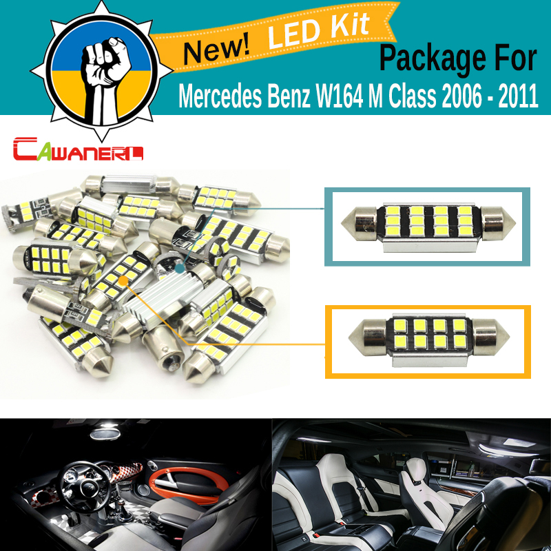 Cawanerl Car Canbus Interior LED Kit White 2835 SMD Map Dome Door License Plate Light For Mercedes Benz W164 M Class 2006-2011 12pcs error free led bulb interior light kit for mercedes for mercedes benz m class w163 ml320 ml350 ml430 ml500 ml55 amg 98 05