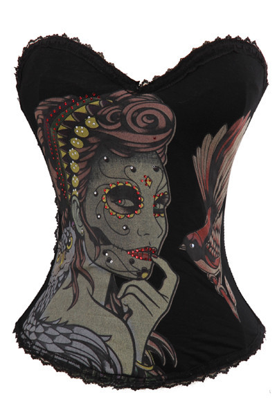 6 pattern Women Multi-colors Sexy Lace Cotton Corset Tattoo Goth Punk Rock Hook Bones Bustiers Top Skull Devil