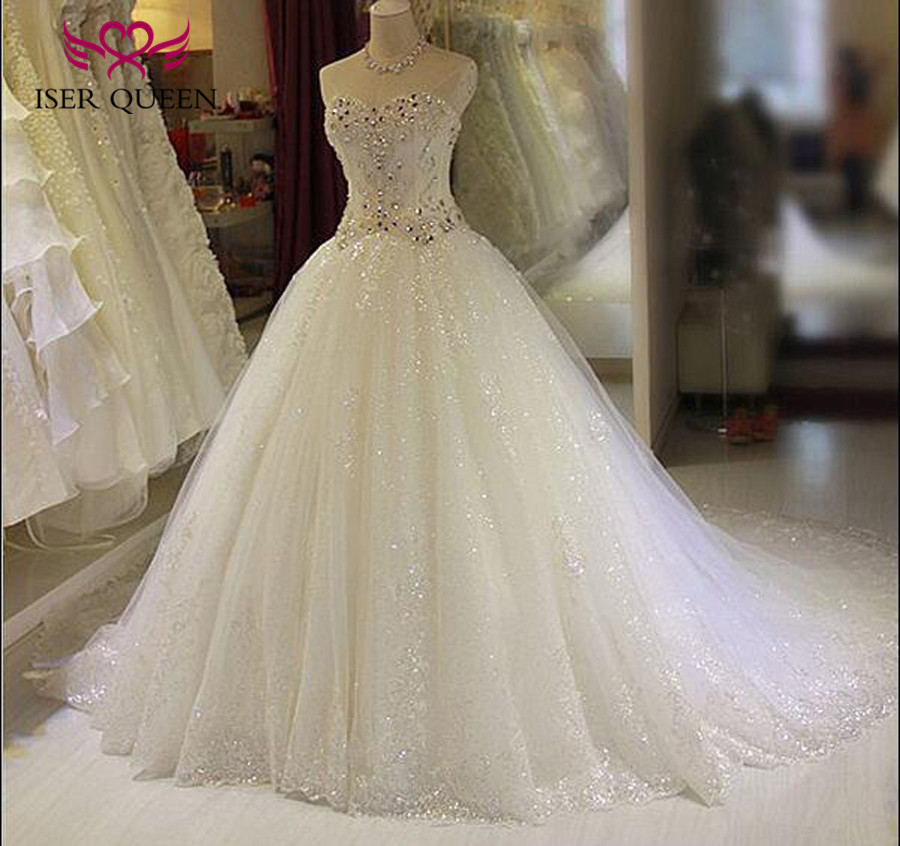 Luxury Crystal Wedding Dress 2019 New Off Shoulder Sweetheart Neckline Ball Gown Bright Lace Tulle Arab Wedding Dresses WX0135