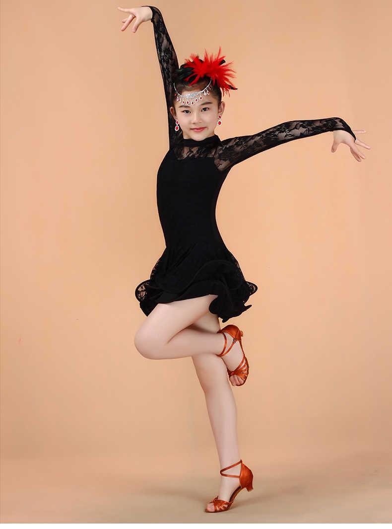05f038e27d994a8 ... 1 шт. девушка Кружево Костюмы для латиноамериканских танцев Танцы платье  2 слоя чистого цвета ребенка