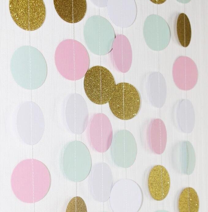 2pcs/lot) Pink Gold Birthday Garland Photo Backdrop Paper Curtain ...