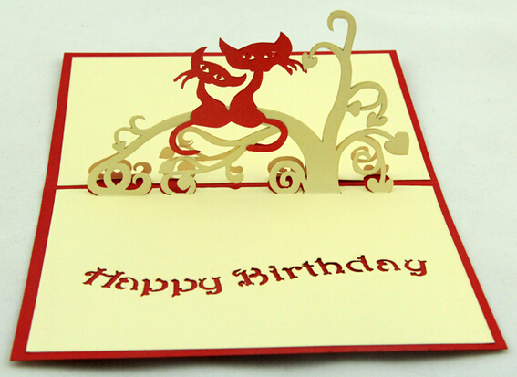 Handmade Post Card 2014 Fashion High End 3D Cat Lovers Birthday Greeting Cards Wish Happy Postcards