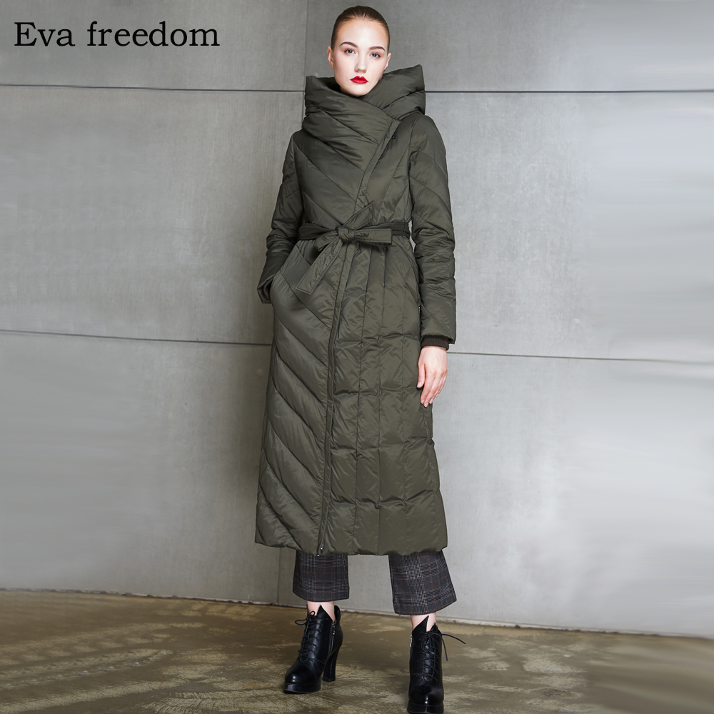 Eva freedom high-end women's winter   down   jacket 2018 long slim and thick   coat