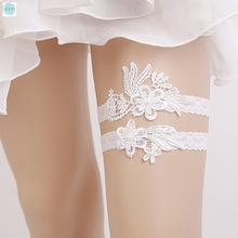 Split Type White Lace Sexy Garter Brides Garters Thigh Ring Wedding Accessories White Embroidery Floral Sexy Garters for Bride czy black sexy bride lace socks of wedding garter thigh ring czy party embroidery flower beading black sexy garters for bride