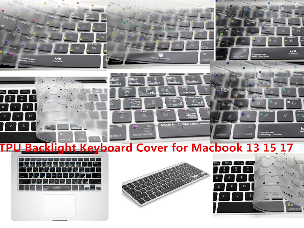 HRH USA Ableton Live Lightroom Logic Pro X Shortcut Hot Keys TPU Backlight Keyboard Cover Skin For Macbook Pro Air 13 15 17 ...