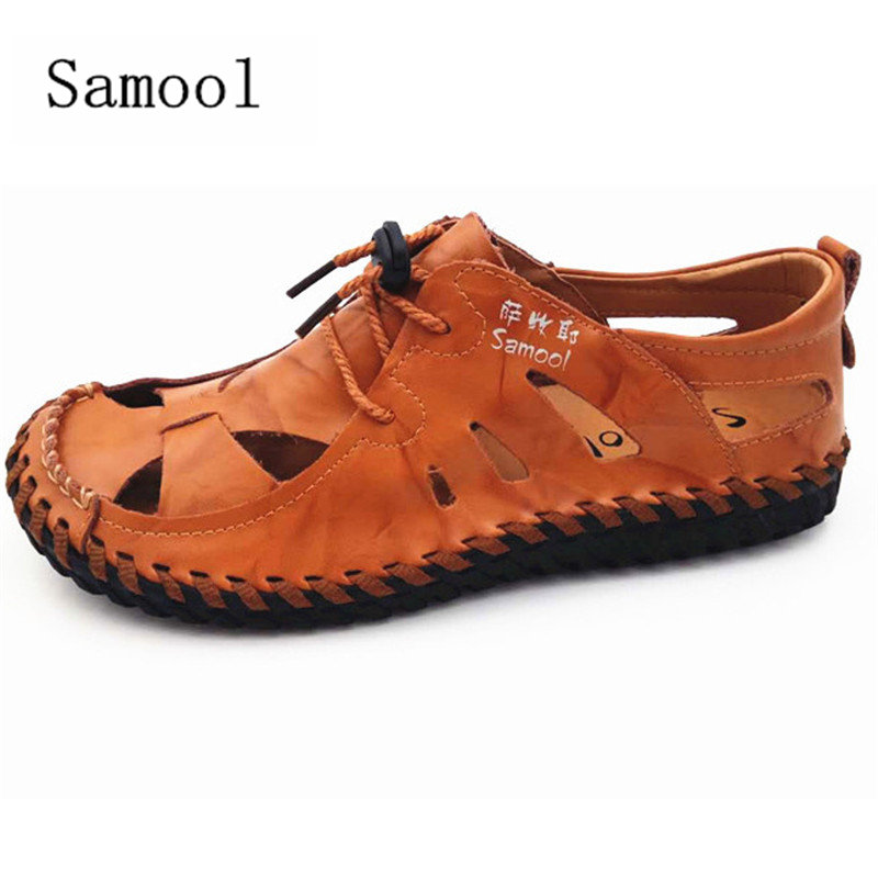 2017 Fashion Design Breathable Walking Durable Beach Sandals Lace Up Sandals Men Flats Summer New Genuine Leather Men Sandals 35