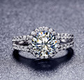 Hot Sale Gold Plated 2 carat 8mm SONA simulated diamond Engagement rings,ring for women Free Shipping