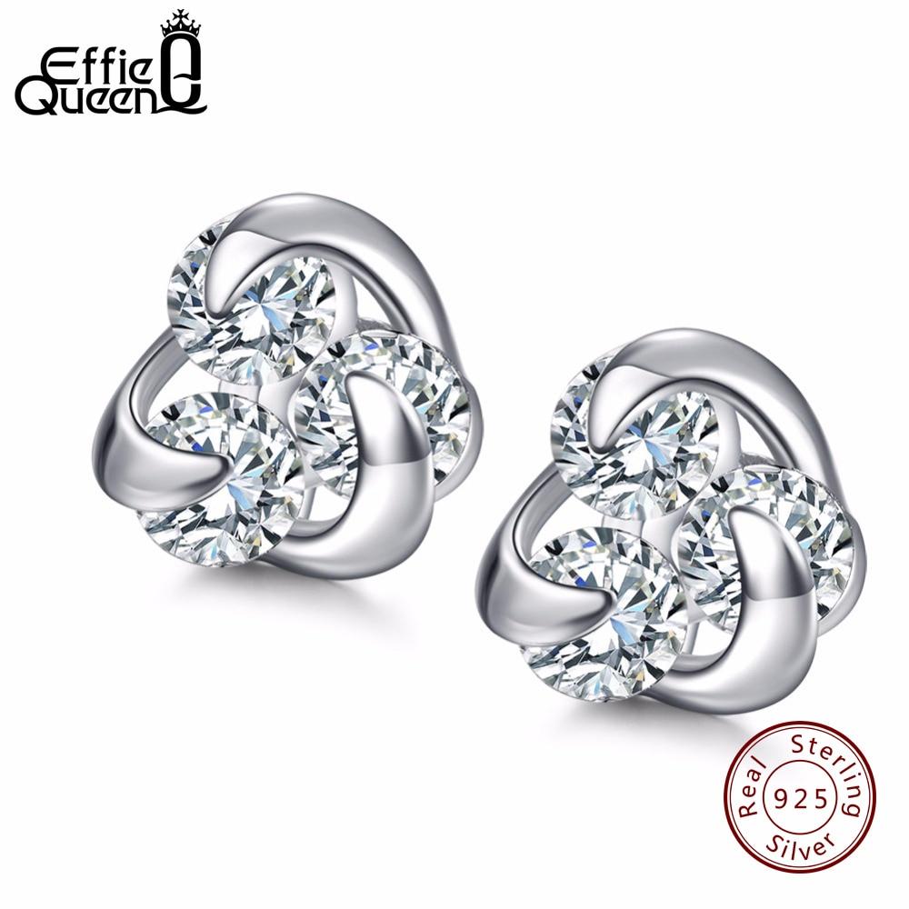 1b53936e95ea Effie Königin 100% Echtes 925 Sterling Silber Ohrringe für Frauen heißer  Verkauf 8mm CZ Kleine Nette Crystal Schmuck Ohrstecker BE10