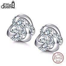 Effie Queen 100% Genuine 925 Sterling Silver Earrings for Women Hot Sale 8mm CZ Small Cute Crystal Jewelry Stud Earrings BE10