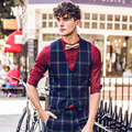 2016 Spring Formal Mens Vests Suit Vest Men Classic Brand-Clothing Slim Plaid Fashion Wedding Groom Single Breasted Waistcoat