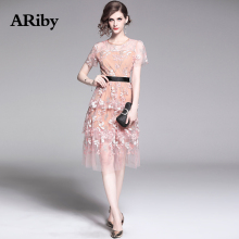 ARiby Women Pink Sweet Mesh Cake Elegant Dress 2019 Summer New Mesh Floral Embroidery Short-sleeved Round Collar Empire Dress цены