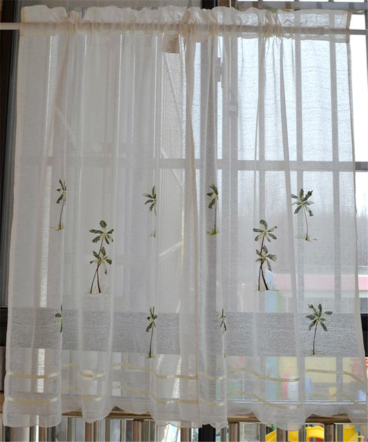 Rústico cortina de la cocina de tela café ventana cenefa semi sombra ...