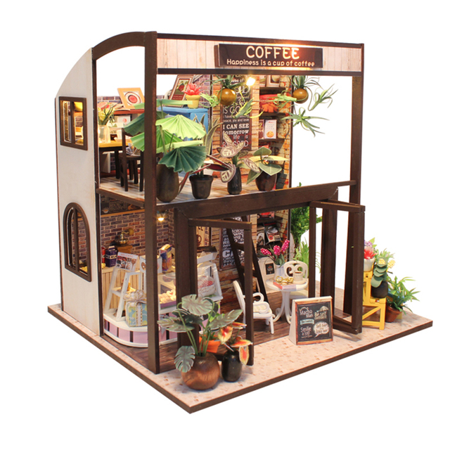 Realistic Coffee Store Wooden DIY Doll House Kit
