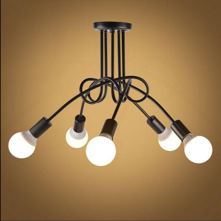Vintage retro lighting chandeliers lamp iron distorted pipe ceiling Restaurant bar Simple LED light fixture vintage retro new pendant light lamp bar shop lighting led lighting ceiling lamp fixture e27 90 260v three colors free shipping