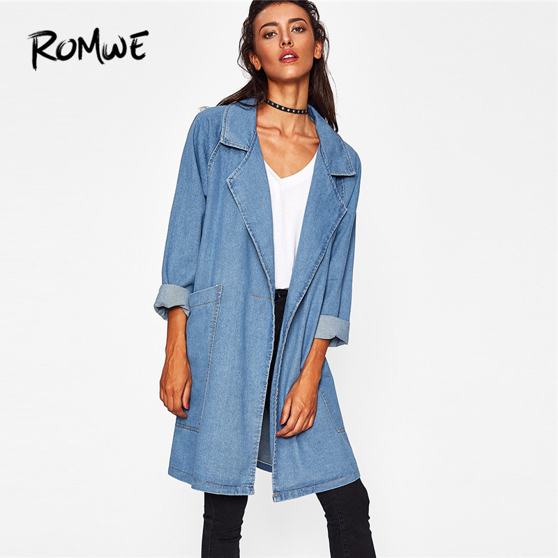ROMWE Front Patch Pockets Longline Denim Coat Women Casual Long Blue Jean Coat 2018 Fashion Autumn Fall Collar Coat