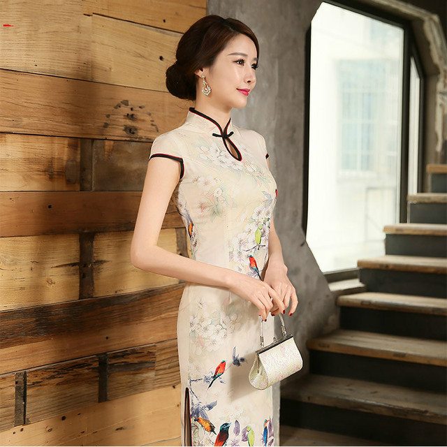c4bedf4af Chinese Traditional Dress Summer Style Fashion Vintage Cheongsam Qipao  Elegant Short Printed Birds and Flowers Dress