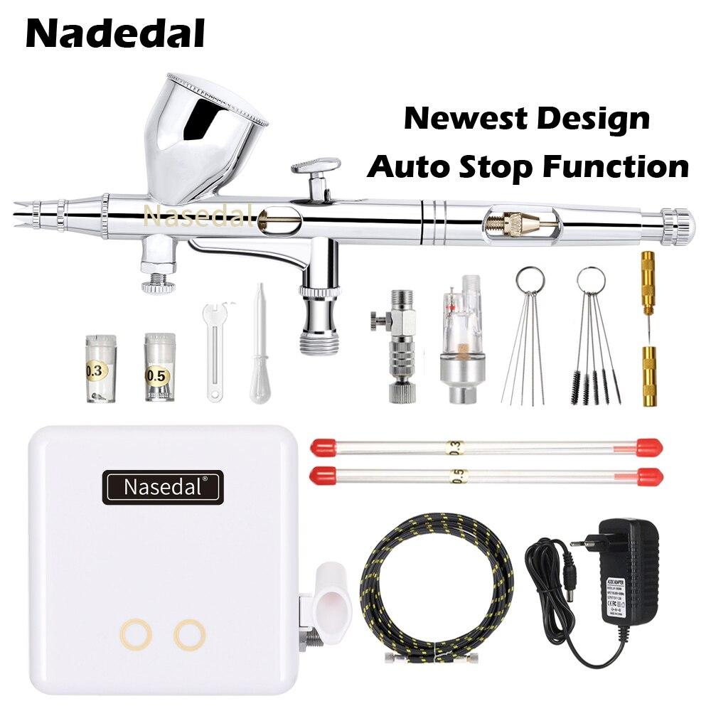 Nasedal NT-24W Mini Multifunctional Airbrush Spray Gun Air Brush Makeup Painting Decoration Pneumatic Tools Air Compressor Set