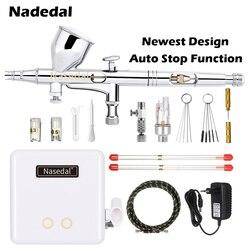 Nasedal NT-24W Mini cepillo de aire multifuncional pistola de aire cepillo de maquillaje pintura decoración herramientas neumáticas compresor de aire conjunto