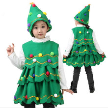 2015 Christmas Tree Girls Dress Princess Tutu Dance Performance Dresses Party Clothing Children Costumes for Baby girl layered