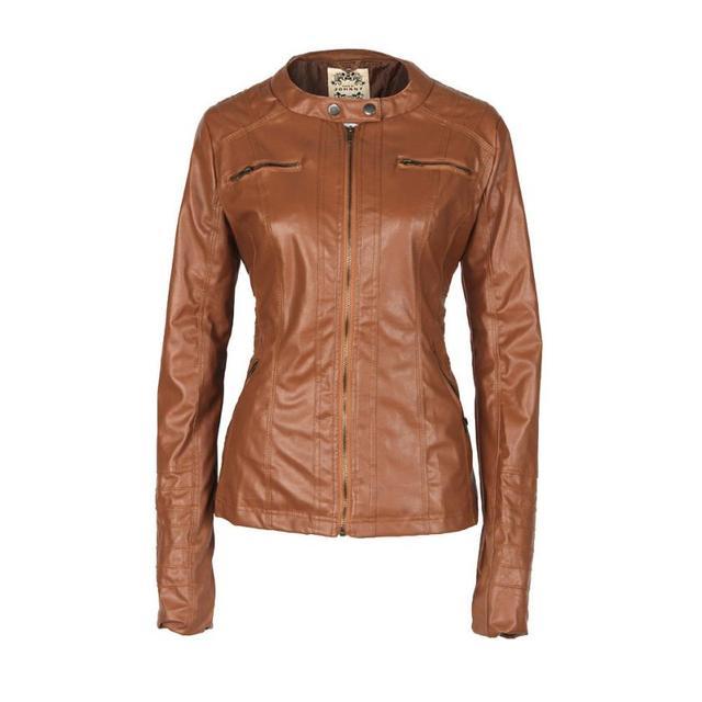 45cc074ac30 SIF Women Slim Leather Jacket Removable Zipper Hooded Coats Outwear Jacket  Zipper Short Coat AGU 26