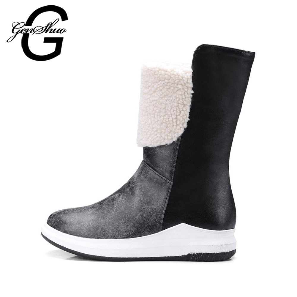 GENSHUO Women Mid Calf Boots Winter Snow Boots High Quality Pu Leather Thick Heel Mid Boots Short Plush Women's Winter Shoes lukuco pure color women mid calf snow boots with faux fur design high quality pu made med wedges heel shoes