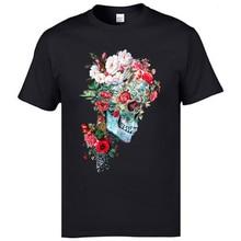 100% Cotton Mens Short Sleeve Sugar Flower Skull T Shirts Momento Mori Day Of The Dead Popular T-Shirts Fashion Tshirts