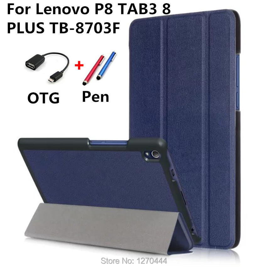 Cover Case for Lenovo P8 TAB 3 8 plus PU Leather Tablet Case for Lenovo P8 TAB3 8 PLUS TB-8703 TB-8703F tablet fundas Flip Cases luxury pu leather case for lenovo tab 3 8 plus 8inch tablet stand protective cover for lenovo p8 tb 8703f tab3 8 plus
