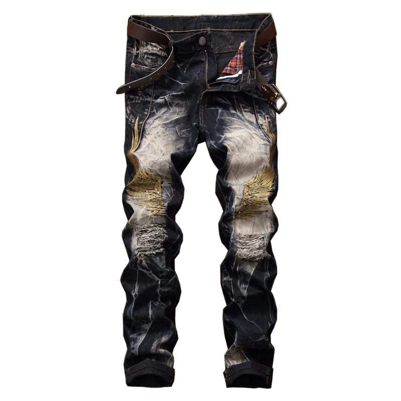 Newsosoo Ripped Hole Distressed Denim Biker Jeans Men Retro Embroidered Straight Slim Fit Designer Mens Jeans Plus Size 2017 men jeans slim fit eagle wing embroidered biker denim pants male rap casual hole ripped punk jeans slim fit straight plus