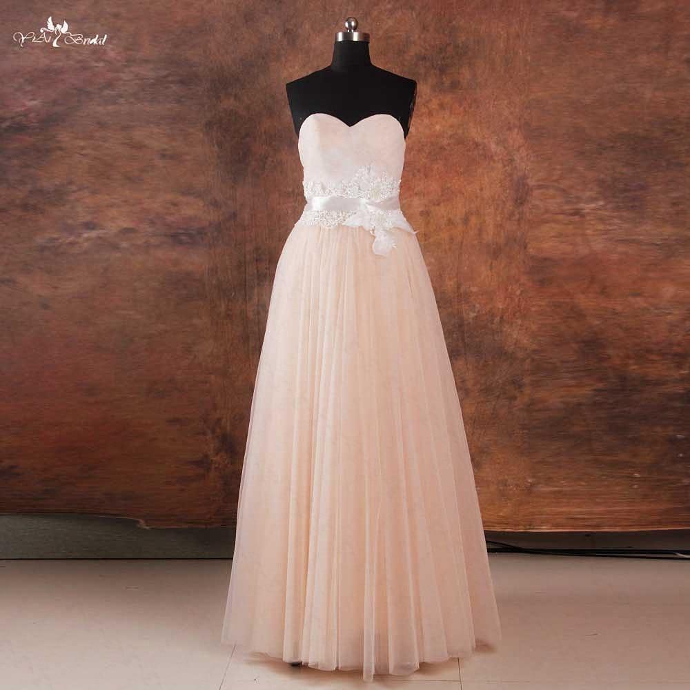 Rse738 cheap simple ivory lace blush beach wedding dress for Simple ivory lace wedding dress