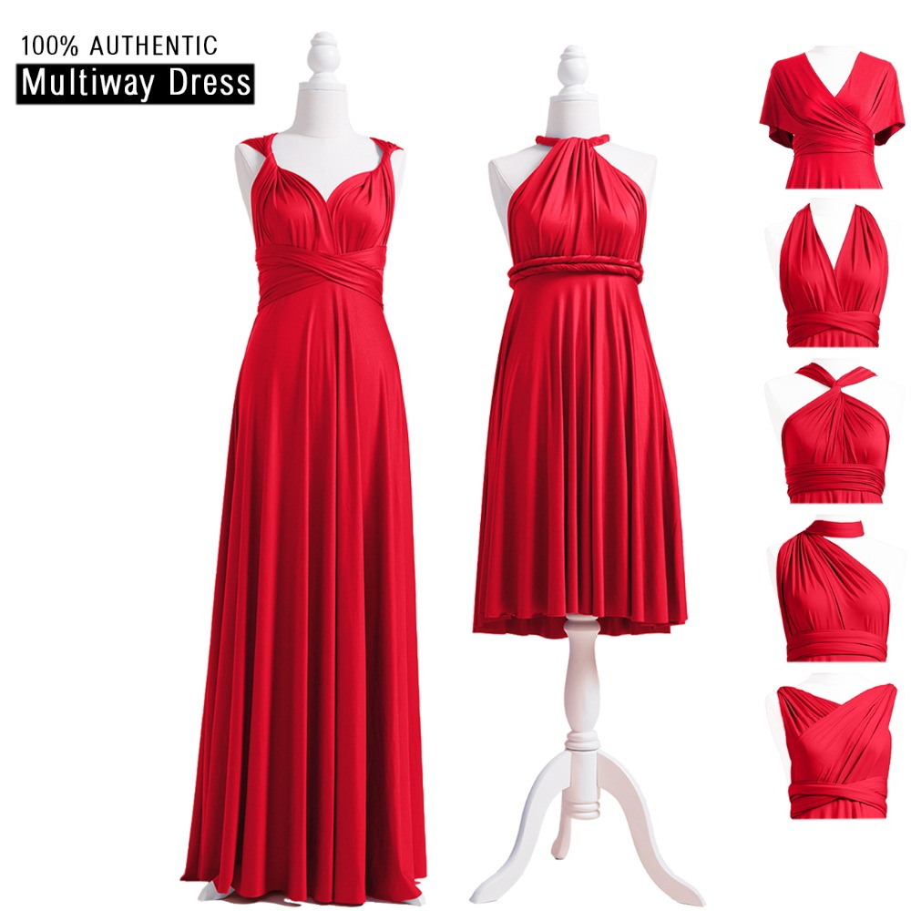 b95e1e620bd Red Bridesmaid Dress Ruby Multiway Infinity Dress Long Wrap Maxi Dress With  Halter Straps Styles