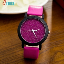 OTOKY Dressflow Fashion Women Men Sequins Starry Watch Moon Clock Hands Quartz Wrist Watch 170112 Drop Shipping(China)