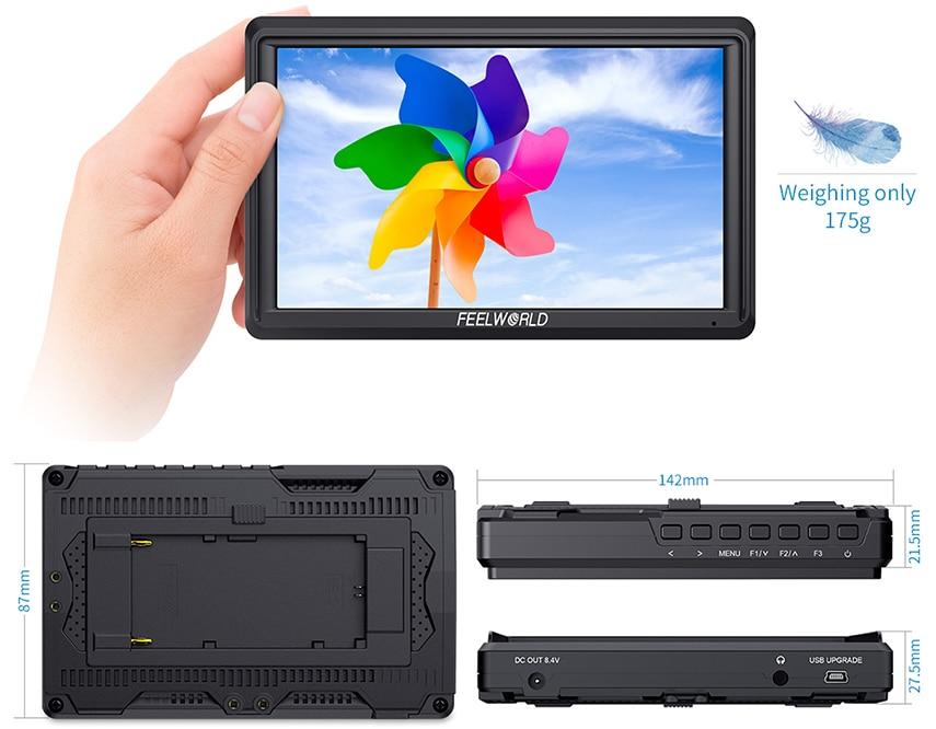 FEELWORLD S55 5.5 cal DSLR ekran aparatu 4K HDMI LCD IPS HD 1280x720 wyświetlacz monitor zewnętrzny 8.4V DC wyjście dla Canon Sony Nikon 6