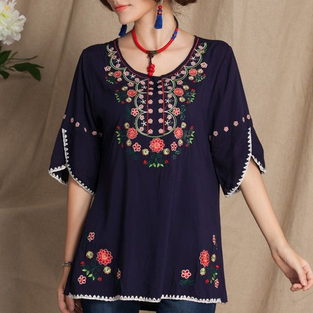 7b6cd9daa3fc09 Women Boho Vintage Tops Ladies Half Sleeve 70s Mexican Ethnic Floral  Embroidered Ladies Shirts Casual Blouse Tops-in Blouses & Shirts from  Women's Clothing ...