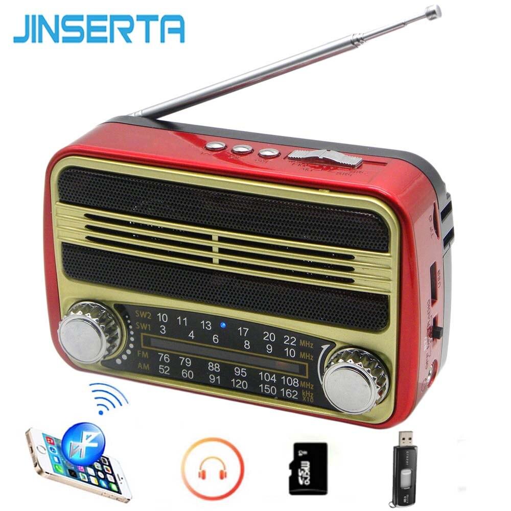 JINSERTA FM/AM/SW Radio Receiver Mini Retro Speaker BT MP3 Jogador U Disco Apoio TF Cartão de Jogo com Cabo USB Fone De Ouvido