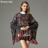 Winter Geometric Jacquard Loose Poncho Knitting Sweater Sueter Mujer Invierno 2017 Wool Thicken Fringed Poncho Feminino