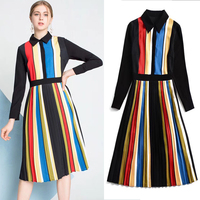 New Temperament Color red Rainbow Stripe Long Sleeve Dress Turn over Collar and Slim Shirt