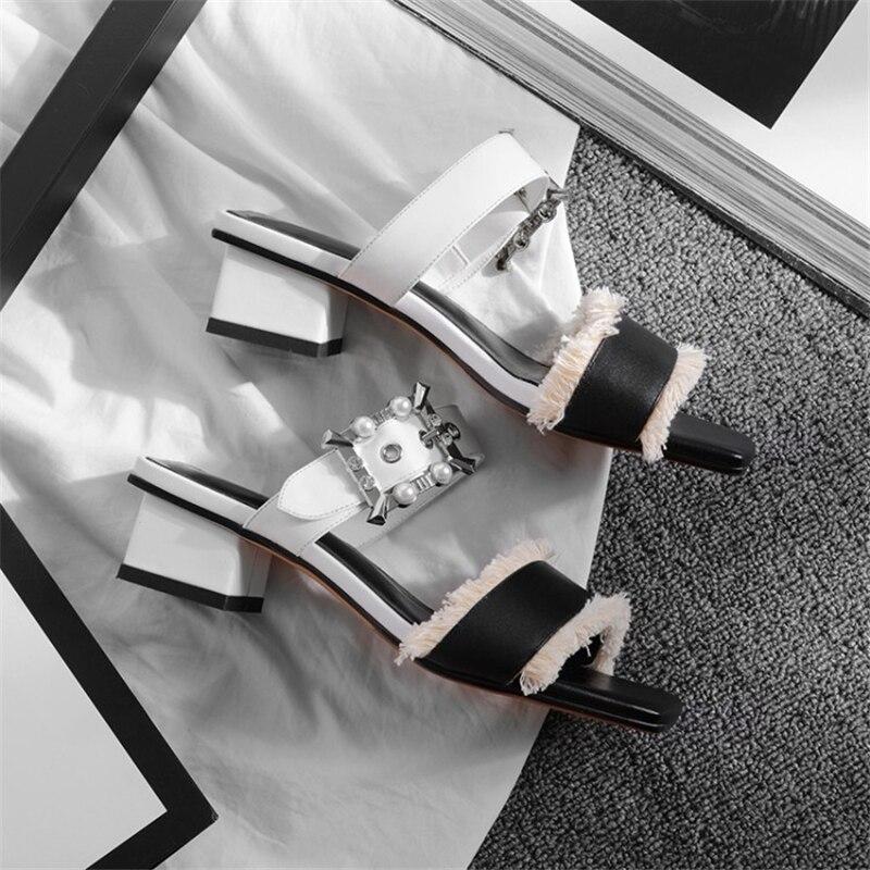 Mélangées rose En Pantoufles Msstor Pompes Bracelet Noir Couleurs Mode Peep D'été Casual Boucle Cristal 5 Cm Toe Chaussures Peluche Frange Femmes OnwPk80