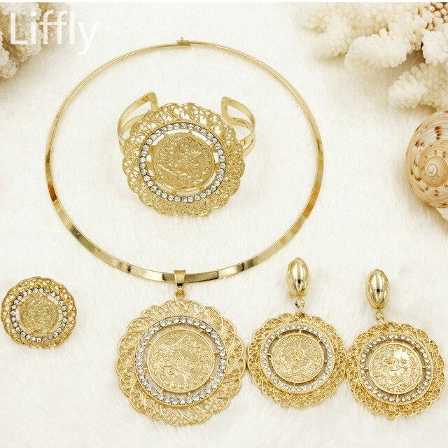 Liffly אופנה כלה תכשיטי סטים לנשים דובאי זהב מטבע תכשיטי חתונה שרשרת עגילי תכשיטי חרוזים אפריקאים סט