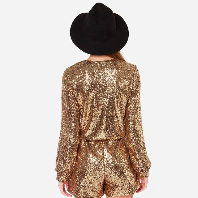 58522a2aa9 placeholder HDY Haoduoyi Golden Sequin Wrap Long Sleeve Romper Winter  Autumn Women Rompers Jumpsuits Low Cut V