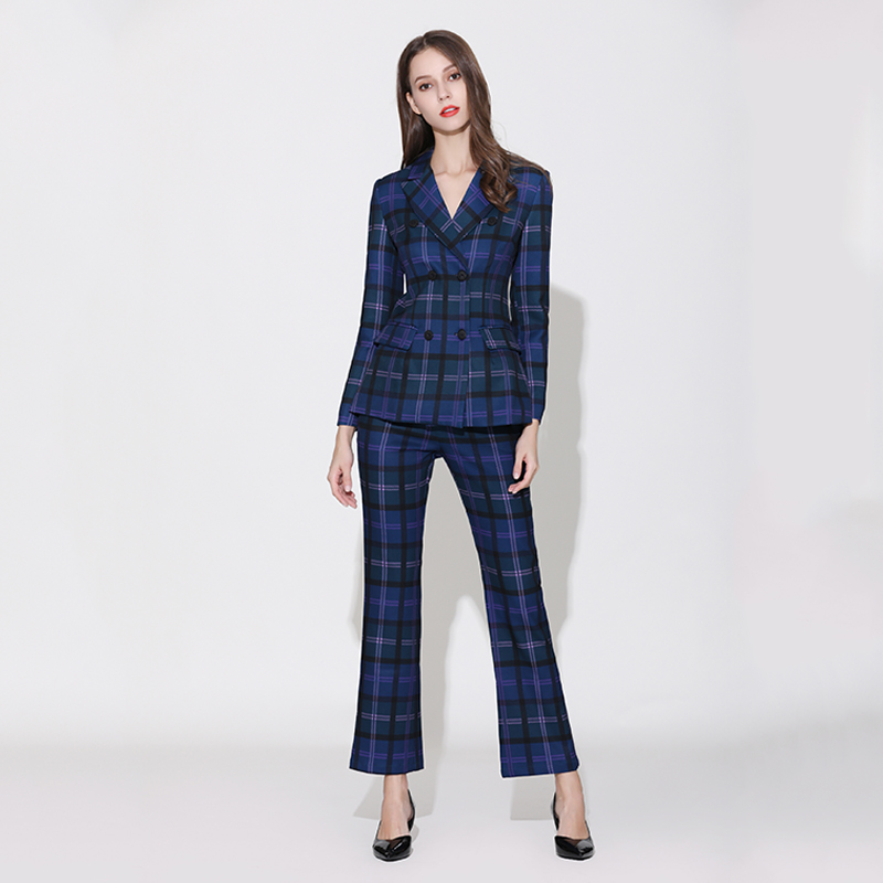 Celebrity Women Runway Stylish Designing Plaid Blazer Suits Flare Pants European Fashion Two piece Sets Quality Twins Sets-in Pant Suits from Women's Clothing    1