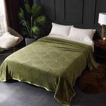 300GSM Cobertores Para Camas de Flanela Macia e Quente Em Relevo Sólido Verão Inverno Colcha de Lã Coral Cobertores Xadrez