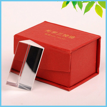 3X3X5cm Triangular Prism Optical Glass Prism with Red Box for Science Physics Teaching Educational Tools Birthday Gift