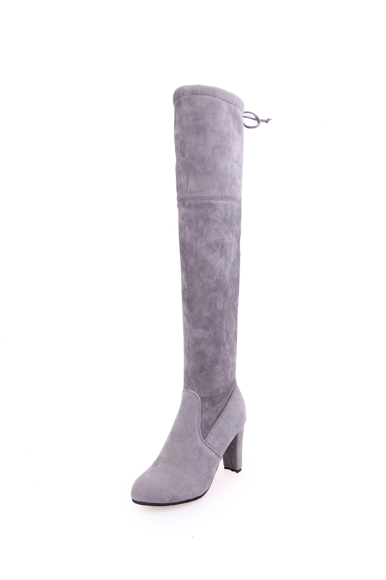 stretch suede the knee boots flat thigh high