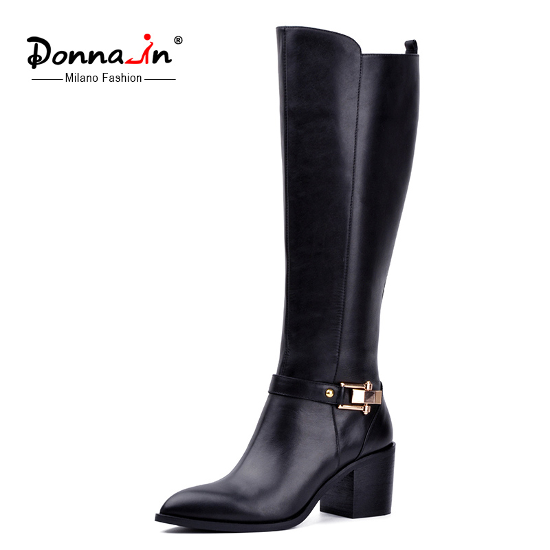 Donna-in genuine leather knee-high boots pointed toe thick high heel metal decration women boots short plush lining ladies boots