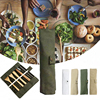 7PCS Set Wooden Flatware Cutlery Set Bamboo Straw Dinnerware Set With Cloth Bag Knives Fork Spoon Chopsticks Travel Kitchen 1