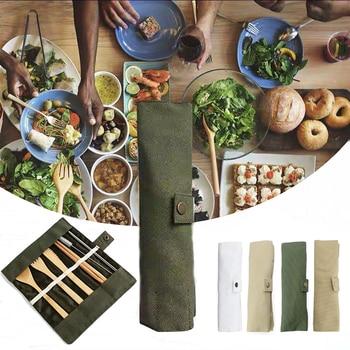 7PCS Set Wooden Flatware Cutlery Set Bamboo Straw Dinnerware Set With Cloth Bag Knives Fork Spoon Chopsticks Travel Kitchen 1