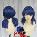 High Quality Anime Miraculous Ladybug Miraculous Ladybug Marinette Ladybug Cosplay Wigs Blue Twin Tail Bunches Hair Wig