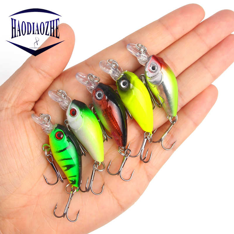 HAODIAOZHE 4.5cm 4.2g Crankbait Fishing Lure Artificial Crank Hard Bait Topwater Minnow Fishing Wobblers Japan Fish Lures YU209