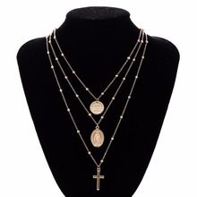 FREE SHIPPING !! Multilayer Cross Virgin Mary Pendant Beads Chain Christian Necklace JKP1025