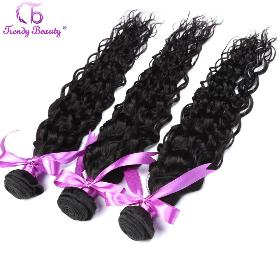 Trendy Beauty Malaysian Water Wave 100% Human Hair Weave Bundles 3 Pcs Per Lot 8-30 Inches Double Weft Non Remy Hair Extensions